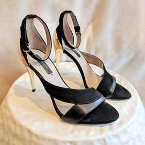 Zara Black Suede + Leather w/ Gold Heels EU36